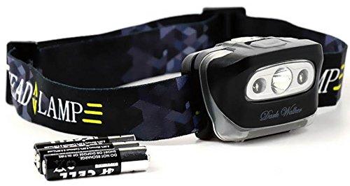 LED Stirnlampe mit Rotlicht -Wasserdicht, leicht und bequem, Perfekt fürs Camping Joggen Campinglampe Aussenleuchte - 4 Licht-Modi, 3 x AAA Batterie (enthalten)