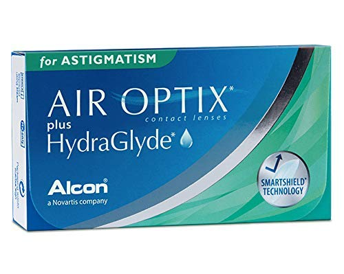 Alcon Air Optix plus HydraGlyde for Astigmatism Monatslinsen weich, 6 Stück / BC 8.7 mm / DIA 14.5 mm / CYL -2.25 / ACHSE 20 / -2.0 Dioptrien