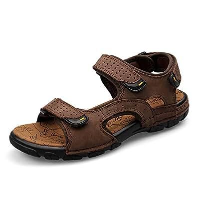Sport Sandale, Nasonberg Cowhide Unisex Herren Damen Strand Wandern Sommer Sandale im Freien Wandern Sport Sandale- Braun, 38 EU