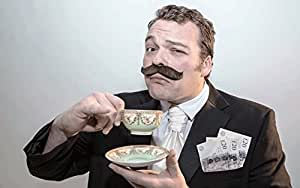The 'Money' fake stick-on fancy dress moustache from Super-Stache - Brown
