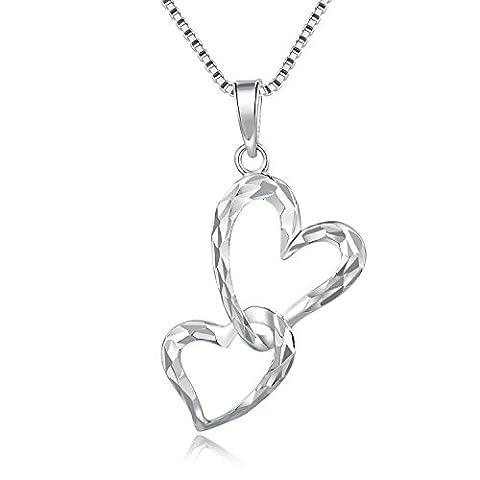 14ct weiß gold Interlocking Herz Diamant Schnitt Anhänger Halskette 40,6cm Frauen Mütter Tag Schmuck