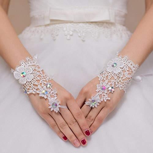 Handgelenk Länge Brauthandschuhe (ZONGLING kurze fingerlose Kristalle Hochzeit Handschuhe Handgelenk Länge Spitze weiß Elfenbein Brauthandschuhe Hochzeit Zubehör, weiß)