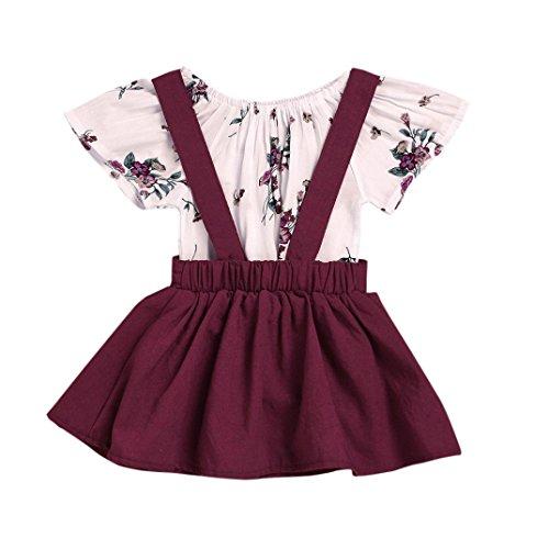 Faux 2 Stück Top (Kinderbekleidung,Honestyi 2 Stück Säugling Baby Mädchen Niedlich Blumen Drucken Strampelhöschen  Overall Gurt Rock Outfits Set Minikleid Blusen Streetwear (6M/80CM, Weinrot))