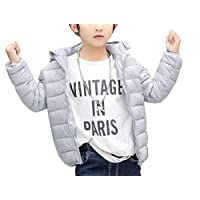 GladiolusA Children Kids Toddlers Down Jackets Hooded Lightweight Padded Coat 90cm Silver