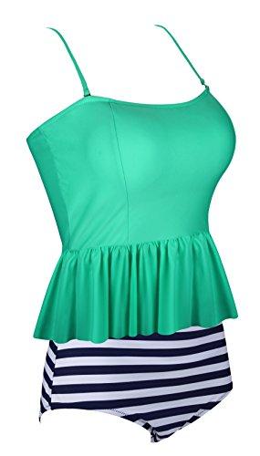 Aixy Frauen Niedliche Rüschen Strap Bademode Tankini Crop Top Flounce Bikinis Badeanzüge Verde claro-1