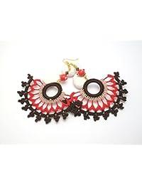 Pendientes artesanales de ganchillo en colores rojo y marrón