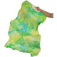 Danza Del Vientre Abanico De Seda Real Costillas De Bambú Rendimiento Hecho A Mano Entrenamiento Profesional Colores Vibrantes Elásticos Verde 1.8M Largo L + R,L+R(1.8M)