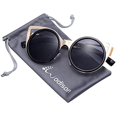 WODISON delle donne degli occhiali da sole classici della struttura del metallo rotonda lente Cat Eye Style Occhiali