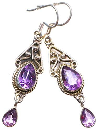 Schmuck Sterling Silber Brighton (StarGems(tm) 925er Sterling Silber Amethyst Einzigartig Handgefertigt Ohrringe 5,08cm Purple X3835)