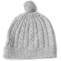 100% Kaschmir Baby Mütze Kappe, Kabelstrickmuster, 4 PLY Mongolian Kaschmir 26/2 Garn, gestrickt, grau Neugeboren 6-18 Monate © Moksha Kaschmir