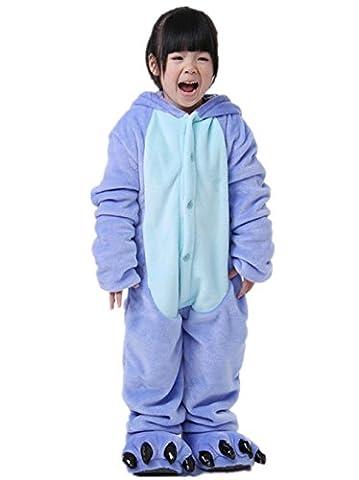 Padgene Pyjama Combinaison Animaux Cosplay Costumes Halloween Enfant Unisexe - Bleu - Taille 11 ans-12 ans(stature 140-150