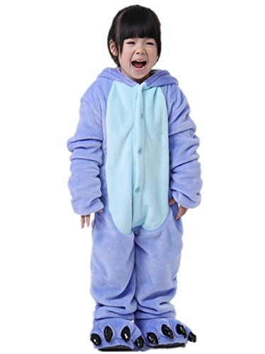 Padgene Pyjama Combinaison Animaux Cosplay Cos Tumes Halloween Enfan T Unisexe (Bleu, Taille 115)