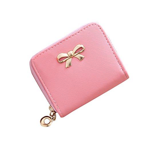 Minibörse Leder Damenmode Single Pull Solide Zipper Bow Kleine quadratische Tasche Münztüte Geldbörse Damen Elegant (Damen-geldbörse Bow)