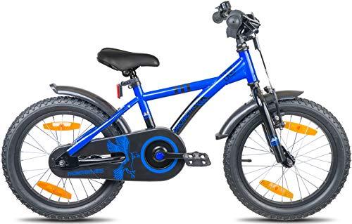 Prometheus Bicicletta per Bambini e Bambine da 5 Anni nei Colori Blu e Nero da 16 Pollici con rotelle e contropedale – BMX da 16″ Modello 2019 - 5