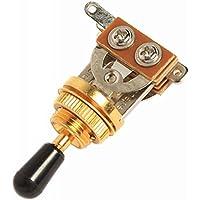 PIXNOR Guitarra Eléctrica de 3 Vías Interruptor con Mando (Dorado + Negro)