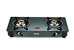 Pigeon Carbon Glass 2 Burner Gas Stove, Black