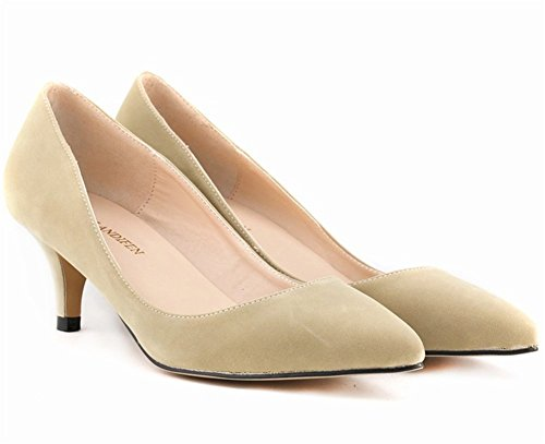 wealsex Escarpins Suédé Talon Moyen Aiguille Bout Pointu Chaussure de Soirée Mariage Couleur Uni Simple Classique Talon 6 CM Femme Beige