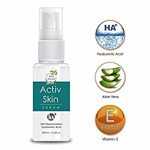 New Improved Activ Skin Serum with Hyaluronic Acid + Aloe Vera + Vitamin-E perfect for Wrinkles, Dark Circles, Dark Spots, Skin lighting effect, Organic, With New Fragrance Now Get 50% extra (20ML + 10ML )