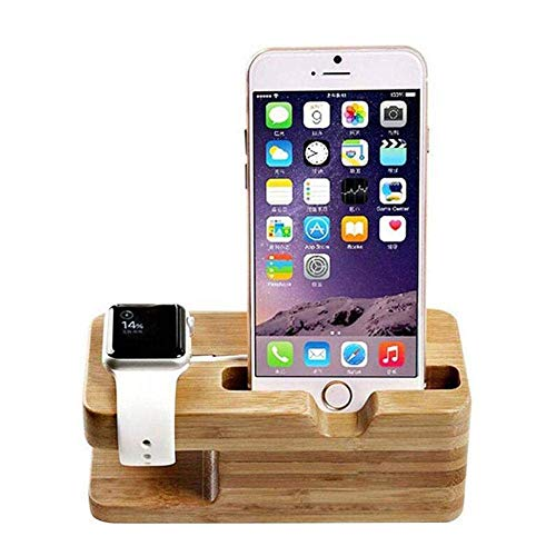 E-CHENG Bamboo Watch Stand,Universal Multi-Device Charging Station and Cord Organizer Dock for Apple Watch,Lazy Mobile Phone Holder for iPhone XS 8/8 Plus Mobile-device-station