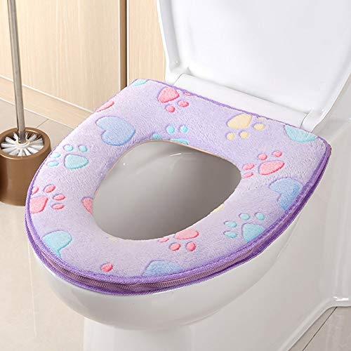 TAOtTAO Toilet Cover Badezimmer-Warmer-Toiletten-Sitz-Stoff-Weiches Closestool waschbarer Deckel-Oberseiten-Abdeckungs-Auflage (Lila)