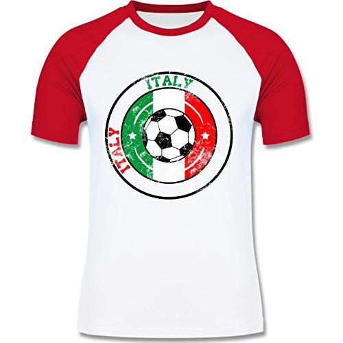 EM 2016 - Frankreich - Italy Kreis & Fußball Vintage - zweifarbiges Baseballshirt für Männer Weiß/Rot