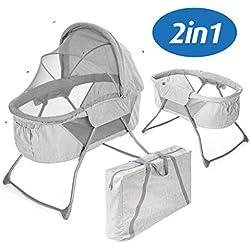 Fillikid Minicuna de viaje plegable bebé 90x40 cm | Cuna portátil con función mecedora, capota, colchón, mosquitera y bolsa de transporte - Gris