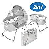Fillikid Minicuna de viaje plegable bebé 90x40 cm - Cuna portátil con función mecedora, capota, colchón, mosquitera y bolsa de transporte - Gris