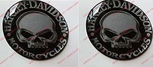 Emblème Logo Ducal Harley Davidson, Tête de mort Willie, Autocollant en résine effet 3D.Pour réservoir ou casque.