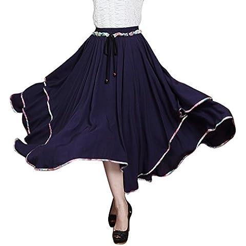Aivtalk Vintage Mujer Falda Larga de Dos Capas Dobladillo Grande Verano Boho Algodón Skirt Estilo Étnico - Azul Oscuro