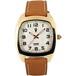 Swiss Emporio Men's Quartz Swiss Made Watch with Mother of Pearl Dial Analogue Display and Brown Leather Strap SE05MPGL10