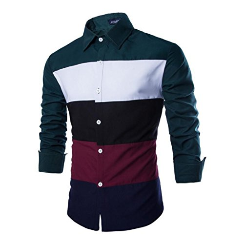 Men's Chemise Patchwork Long Sleeve Slim Fit Casual Shirts Dark Green Sleeve