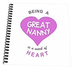 3dRose db_183877_3 Being A Great Nanny is A Work of Heart Girly Pink Cute Au Pair Quote Mini Notepad, 4 x 4