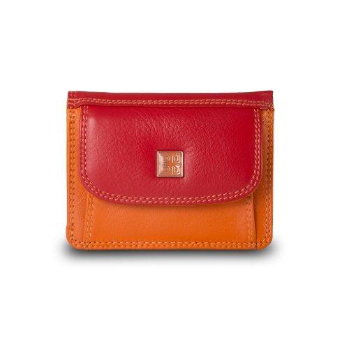 Portafoglio Tri-fold piccolo da donna di pelle con portamonete Rosso
