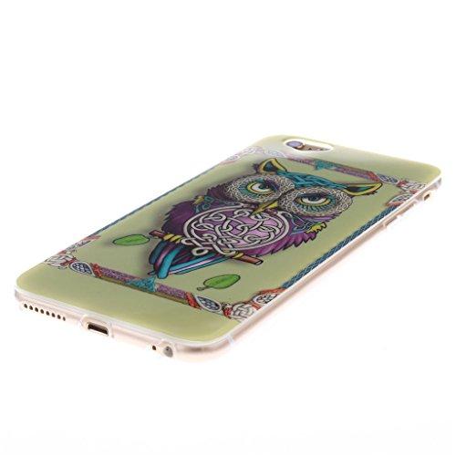 Pour iphone 6 Plus / 6S Plus Coque - 5.5 inch, MYTHOLLOGY - Rétro Fleur Doux Flexible, Premium Silicone TPU Arrière Housse Etui Coloré Owl / Hibou