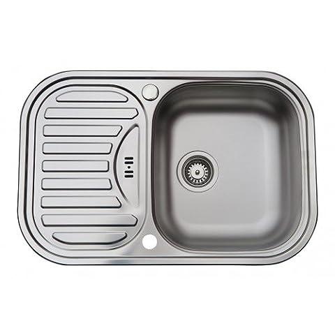 Évier/ lavabo Mizzo Sino Basic 100 - en acier inoxydable - 1 bac - lavabo de cuisine avec égouttoir - montage à encastrer - inox brossé