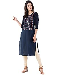 M&D 3/4 Sleeve Exclusive Beautiful Golden Red Embroidery Pure Cotton Women's Kurti Navy Blue Casual Wear