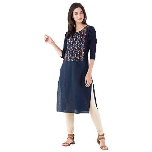 M&D 3/4 Sleeve Exclusive Beautiful Golden Red Embroidery Pure Cotton Women's Kurti...