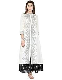 Varanga White Cotton Blend Printed Kurta KFF-VAR21015