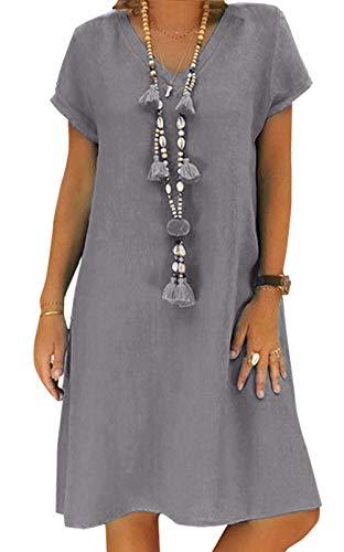 Yidarton Sommerkleid Leinen Kleider Damen V-Ausschnitt Strandkleider Einfarbig A-Linie Kleid Boho Knielang Kleid Ohne Zubehör(Grau,2XL)