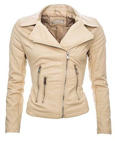 Damen Kunstleder Jacke Sommer Übergangs Kunst Leder Jacke Jacket B143 Beige