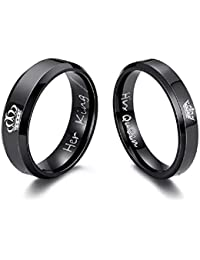 University Trendz 2PCS Her King His Queen Black Titanium Stainless Steel Couple Rings, Anniversary, Engagement, for Men and Women (Please Select Men & Women Pair Size from Style Option)