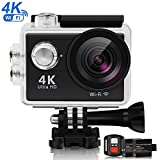 SMBOX 4K Sports Action Camera, 620C 12MP WIFI Waterproof Camera For Surfing Diving, Underwater 100FT, 170� Wide Angle Lens, Ultra HD Helmet Camera W/2 Batteries/2.4G Remote Control/19 Accessories