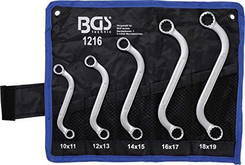 BGS 1216 | Jeu de clés à œil doubles | en S | 10 x 11 - 18 x 19 mm | 5 pièces