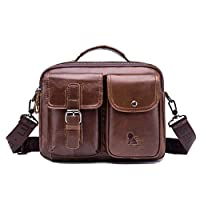 GTOUZ Luggage Bag Briefcase, Men Shoulder Diagonal Bag, Leather Business Briefcase, Vintage Square 11 Inch Portable Computer Satchel Handbag