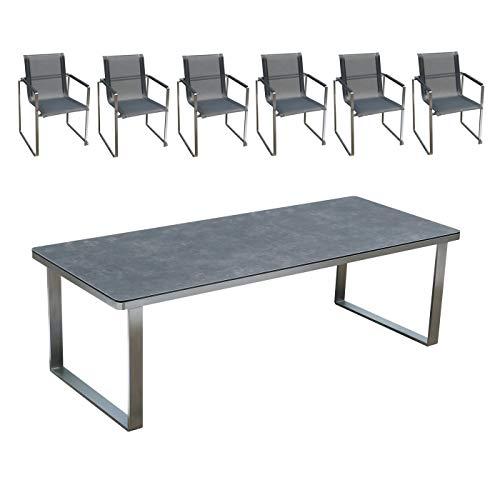 Edles und hochwertiges Gartenmöbel Set: 1 Tisch aus Edelstahl mit Glaskeramik-Platte und Gartenstühle aus Edelstahl von Linneborn Metallwaren (240 cm Tisch und 6 Stühle)