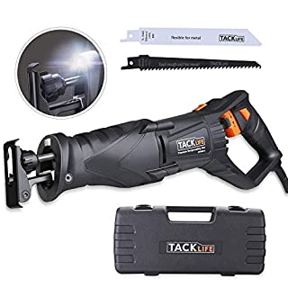 Reciprocating Saw, Tacklife 850W 2800RPM, Flexible Hand Shank, with LED Light, Variable Speed, Rotating Blades Position, 2 Saw Blades (Wood 6T and Metal 14T), Carrying Box | RPRS01A