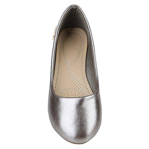 Klassische Damen Ballerinas Lederoptik Flats Basic Slipper Grau Metallic