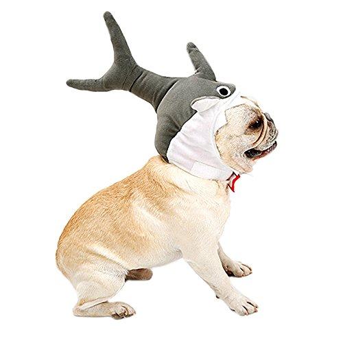   Haustier Party Kleidung   Katzenhut   Hunde Halloween Set   Hunde Party Kostüm,Grau, M (Haifisch-kopf-kostüm)