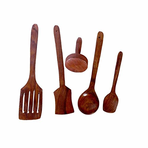Wooden Spoon Set of 5 | 1 Frying, 1 Serving, 1 Masher, 1 Chapati Spoon, 1 Desert for Kitchen & Dining Table  available at amazon for Rs.285