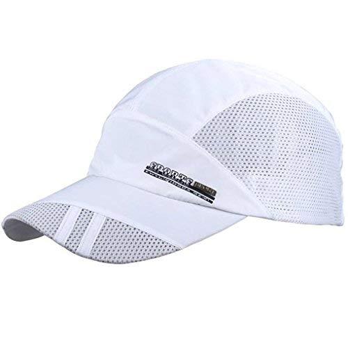 LUFA Sommer-Breathable Mesh-Baseballmütze Sport, schnelltrocknende Hüte für Männer weiß (Sport-hüte Für Männer)